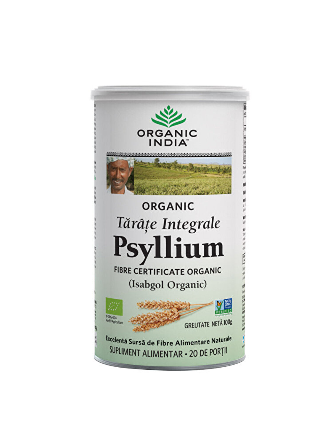 Supliment alimentar natural cu tarate de Psyllium Integrale Eco/Bio 100g Organic India